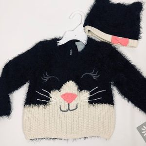 Other - NWT Cat Face Black/Ivory Fuzzy Sweater & Cap Set